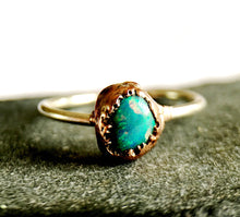 Solid Lightning Ridge Opal Silver & Copper Ring