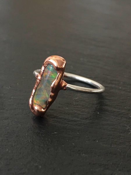 Ethiopian Welo Opal Silver & Copper Ring, size M, US 6 - Glitter and Gem Jewellery