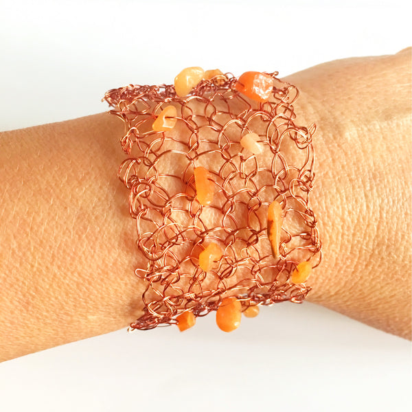 Hand Woven Warm Copper Wire & Carnelian  Bracelet - Glitter and Gem Jewellery