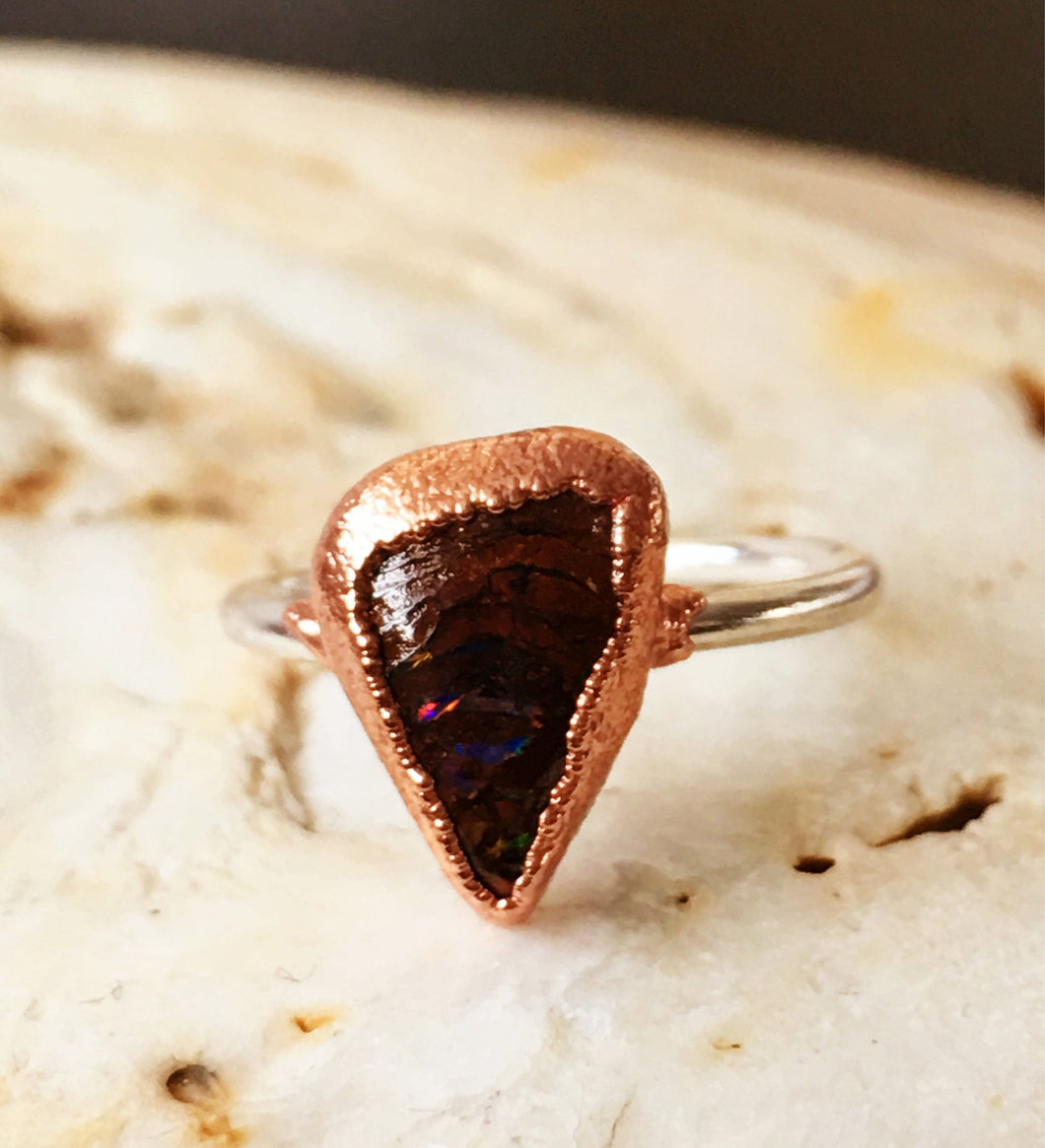 Natural Boulder Opal Copper & Silver Ring, size I, US ring size 4 1/4.