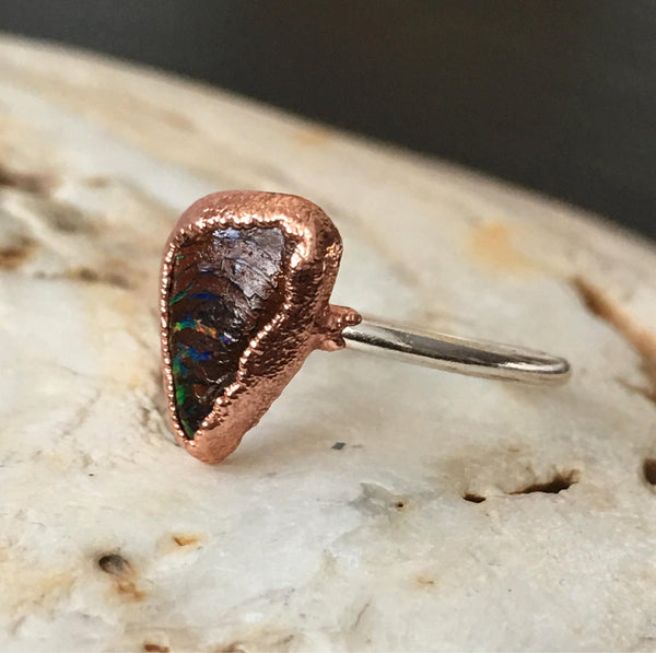 Natural Boulder Opal Copper & Silver Ring, size I, US ring size 4 1/4. - Glitter and Gem Jewellery