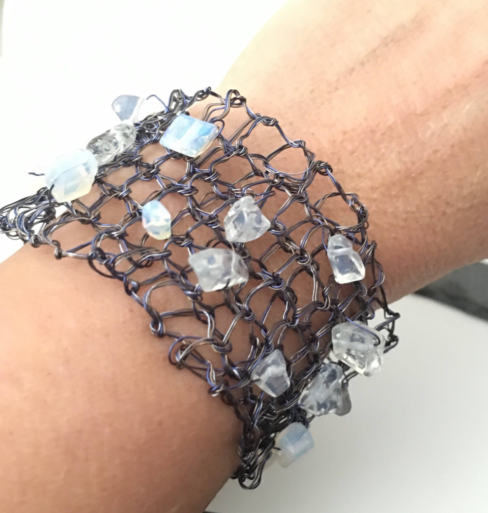 Hand woven Opalite & Deep Blue/Silver Wire Bracelet - Glitter and Gem Jewellery