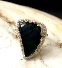 Finnish Spectrolite Silver, UK size G 1/2, US ring size 3 5/8 - Glitter and Gem Jewellery