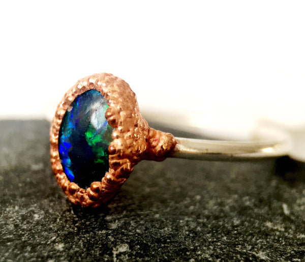 Solid Black Opal Silver & Copper Ring - Glitter and Gem Jewellery