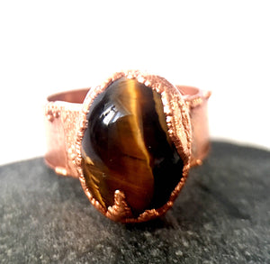 TigersEye Copper Ring - Glitter and Gem Jewellery