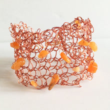 Hand Woven Warm Copper Wire & Carnelian  Bracelet