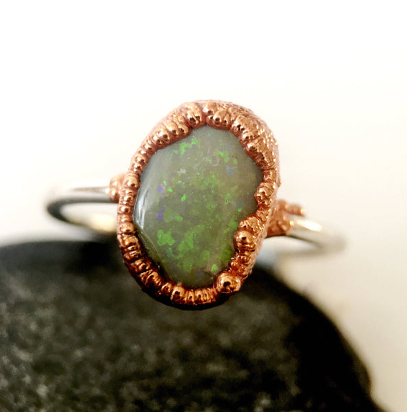 Solid Lightning Ridge Opal Copper & Silver Ring - Glitter and Gem Jewellery