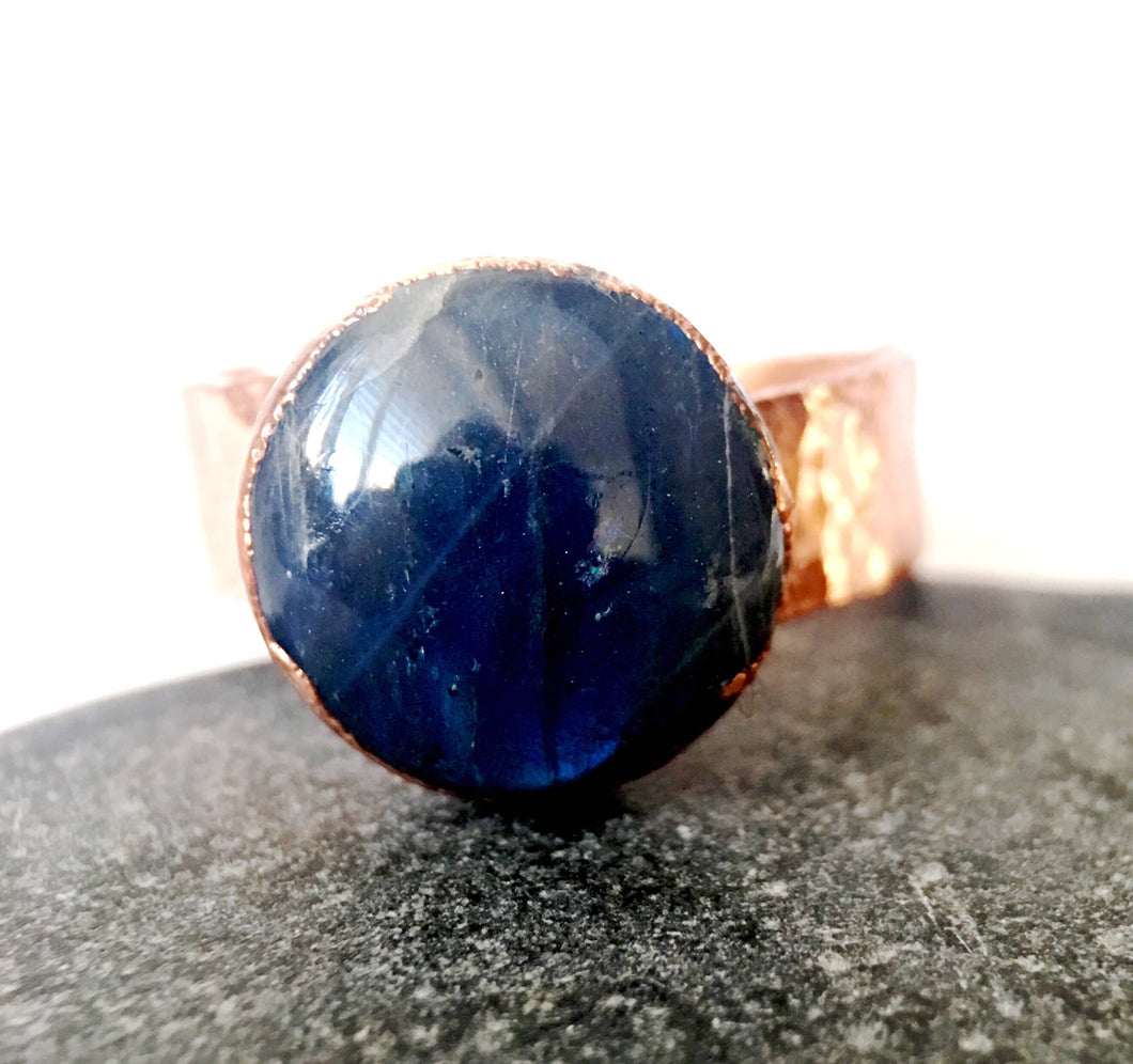 Unisex Labradorite Copper Ring