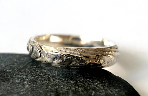 Textured Cast Silver Ring Band - Glitter and Gem Jewellery