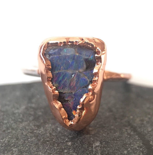 Boulder Opal Copper & Silver Ring, UK ring size M 1/2, US ring size 6 1/4. - Glitter and Gem Jewellery