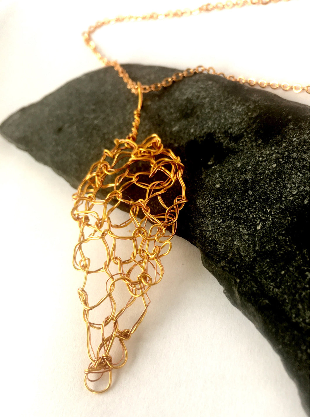 Woven Leaf Design Wire Necklace on Gold Plated Sterling Silver Chain - Glitter and Gem Jewellery