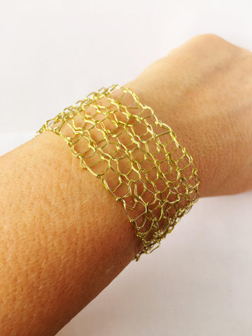 Hand Woven Champagne Toned Wire Bracelet - Glitter and Gem Jewellery