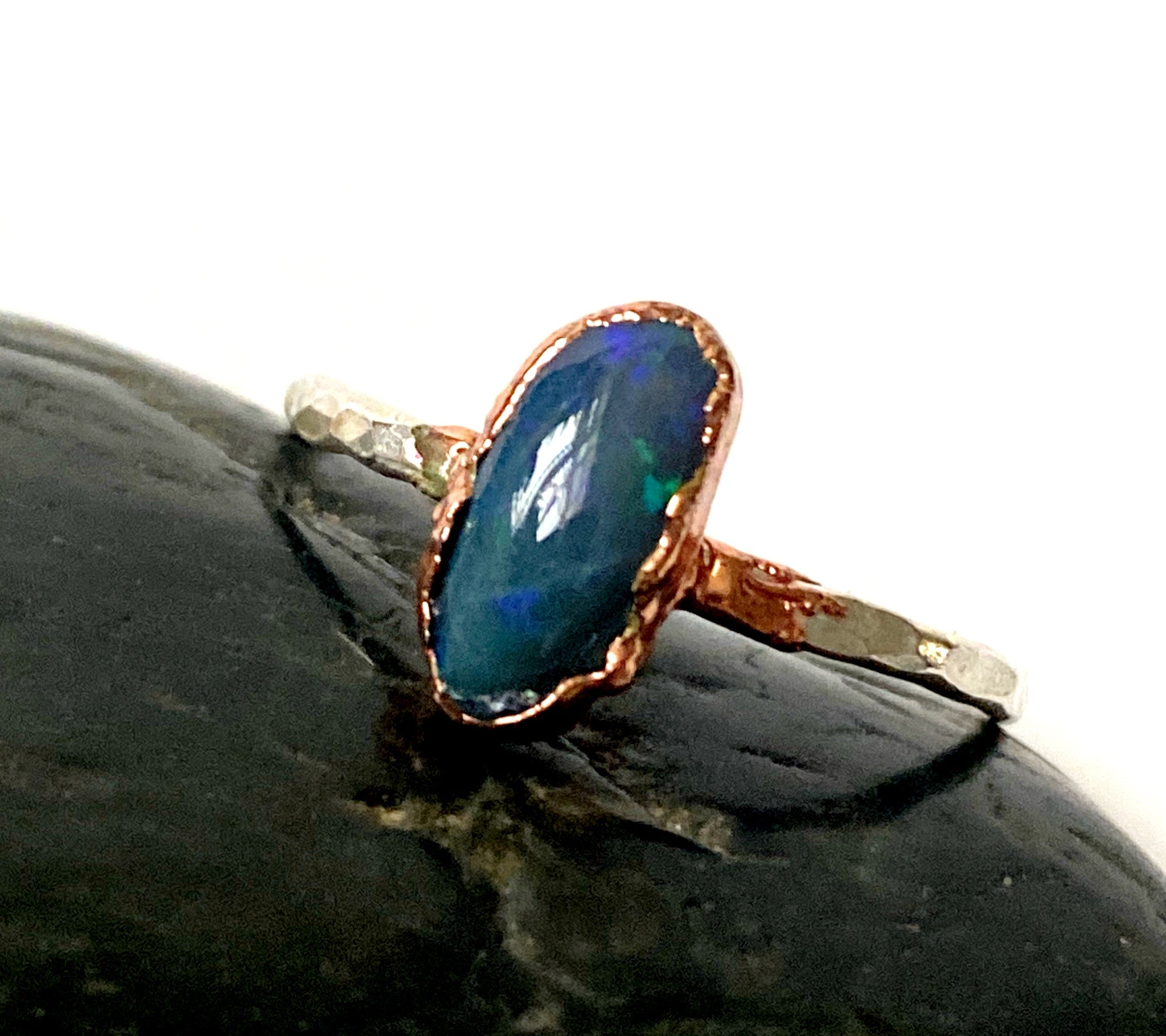 Solid Black Lightning Ridge Opal Copper & Silver Ring - Glitter and Gem Jewellery