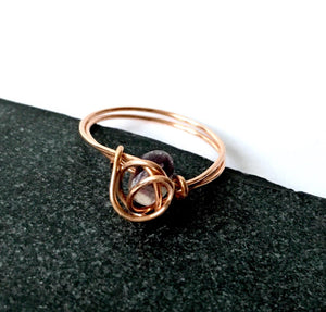 Fluorite 14 carat rose gold filled wire ring - Glitter and Gem Jewellery