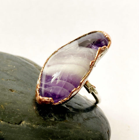 Statement Amethyst Copper & Silver Formed Ring - Glitter and Gem Jewellery