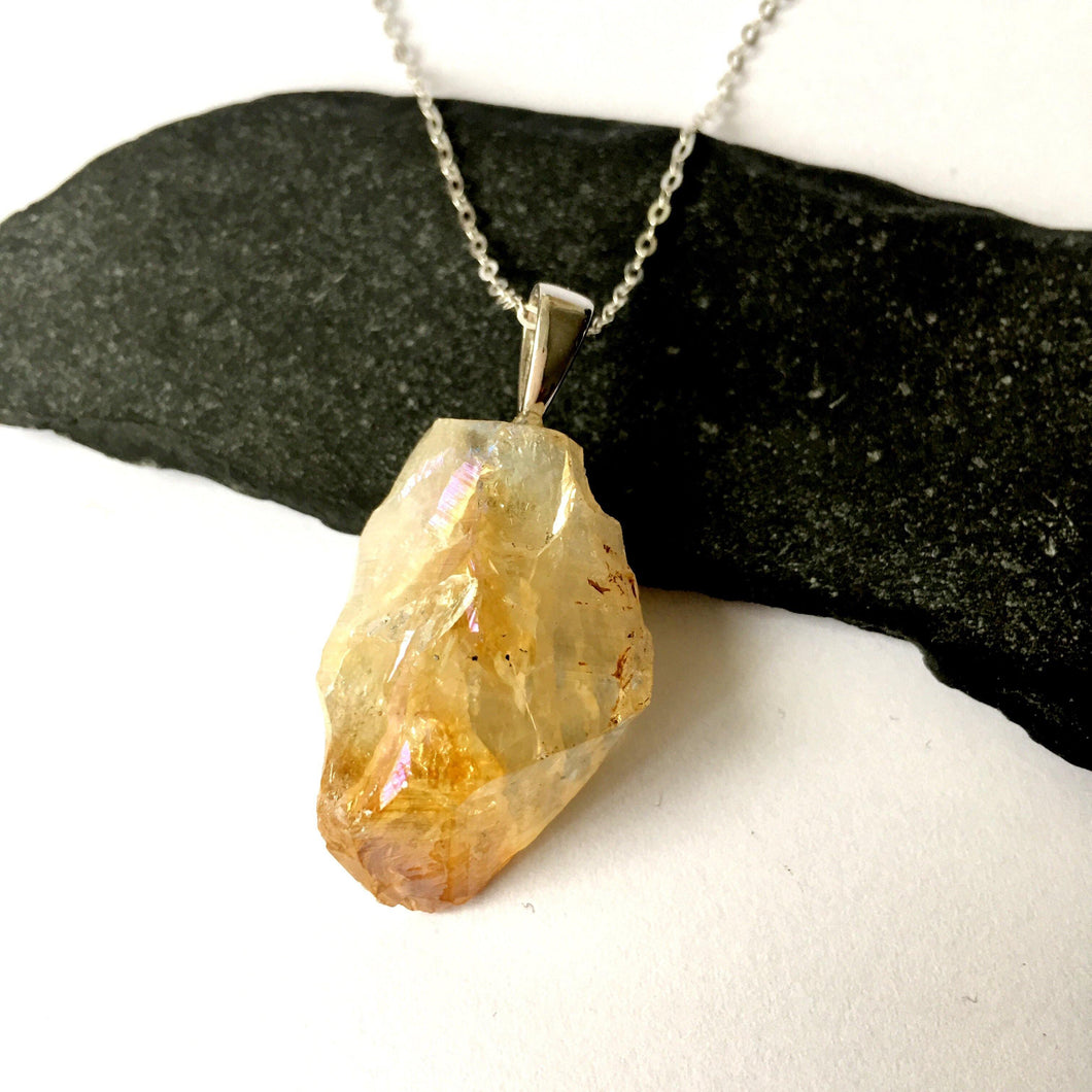 Aura Citrine Quartz Sterling Silver Pendant Necklace - Glitter and Gem Jewellery