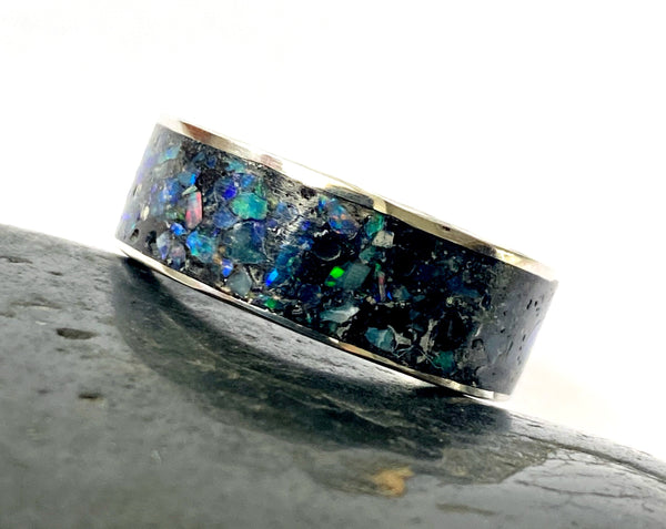 Opal Sterling Silver Inlay Ring - Glitter and Gem Jewellery