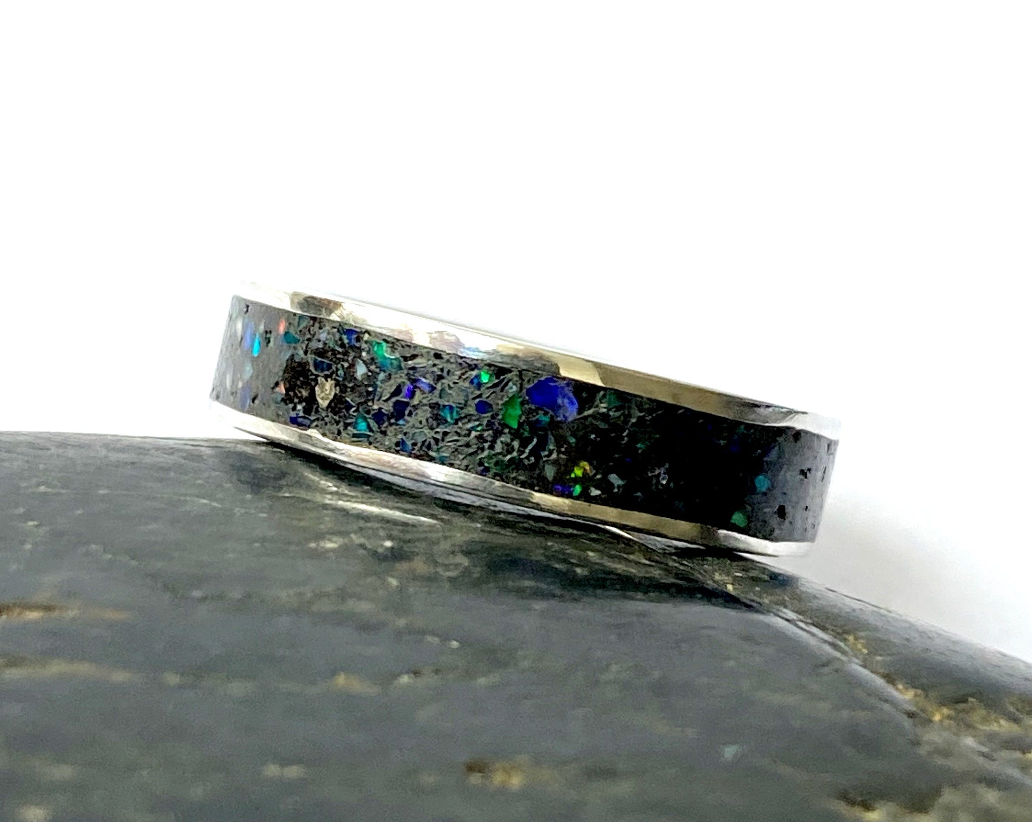 Opal Inlay Sterling Silver Ring - Glitter and Gem Jewellery