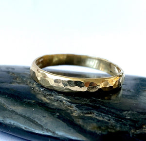 Recycled 9 carat Gold Hammered Ring Band - Glitter and Gem Jewellery