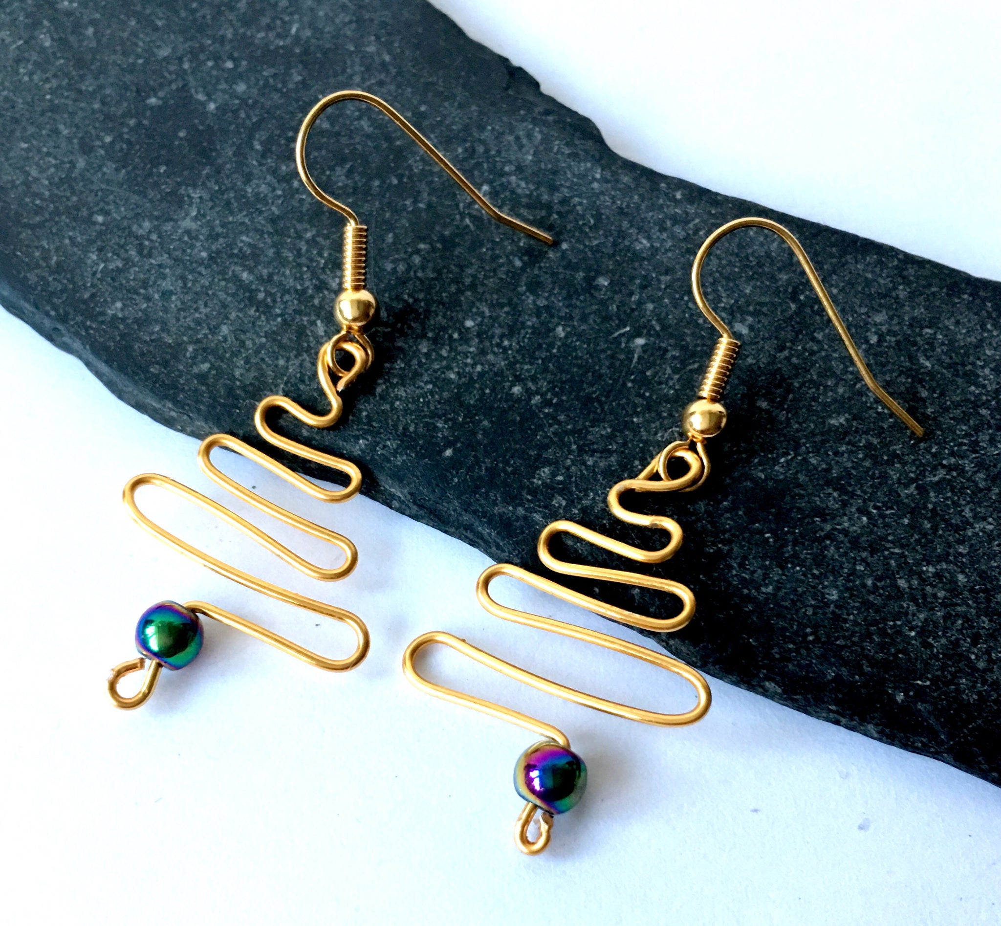 Gold plated Titanium Bead Christmas Tree Earrings - Glitter and Gem Jewellery