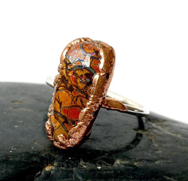 Boulder Opal Copper & Silver Formed Ring - Glitter and Gem Jewellery