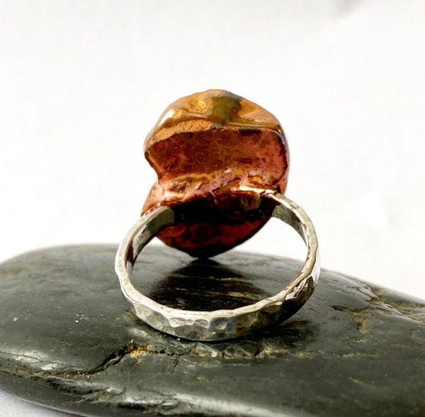 Fantastic Amber Copper & Silver Ring, size K, US Ring Size 5 1/2 - Glitter and Gem Jewellery