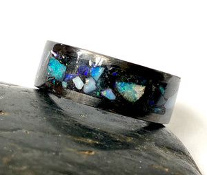 Opal inlay carbon fibre black ring