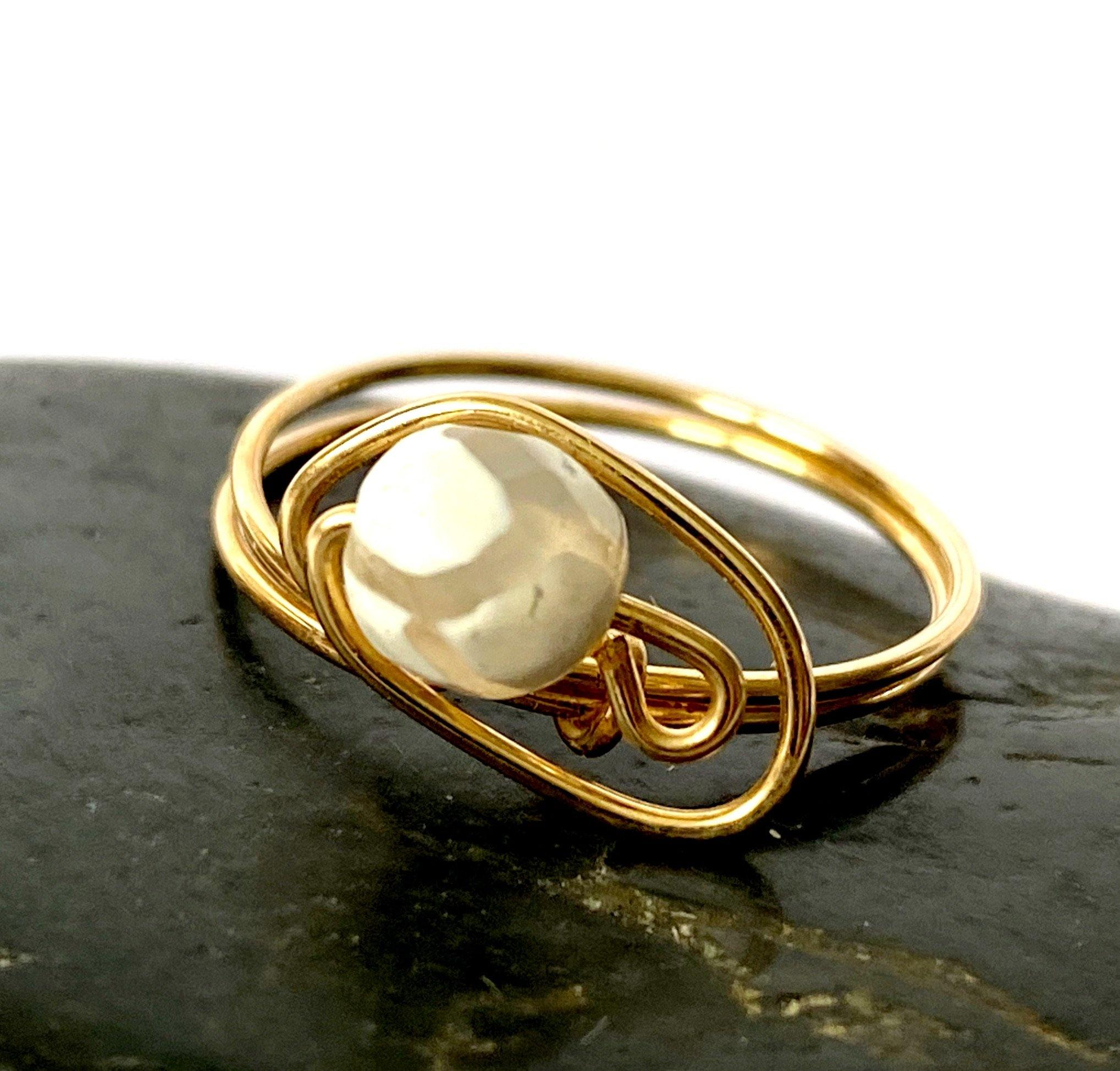 Agate 14 ct Gold Filled Wire Ring - Glitter and Gem Jewellery