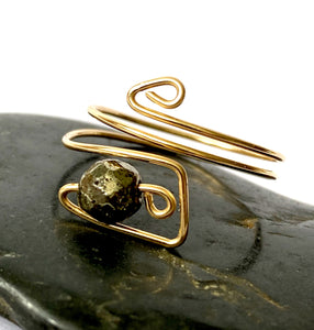 Hematite 14 carat Gold Filled Wire Ring - Glitter and Gem Jewellery