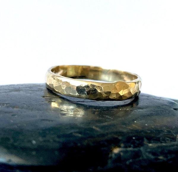 9 Ct Recycled Gold Hammered Textured Ring Band