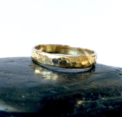 9 carat recycled Gold hammered textured ring band