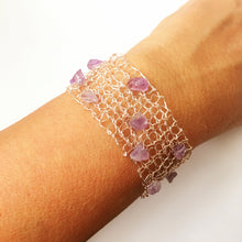 Silver & Rose Gold Hand Woven Wire & Amethyst Bracelet - Glitter and Gem Jewellery