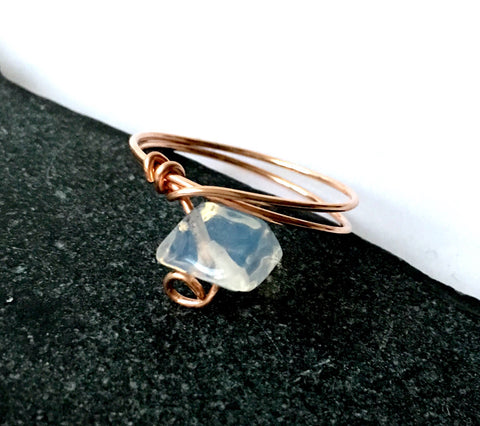 Opalite 14 carat rose gold filled wire ring - Glitter and Gem Jewellery