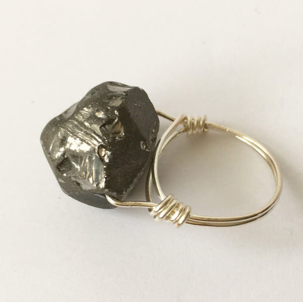 Silver Rock Crystal Quartz Silver Filled Wire Ring - Glitter and Gem Jewellery