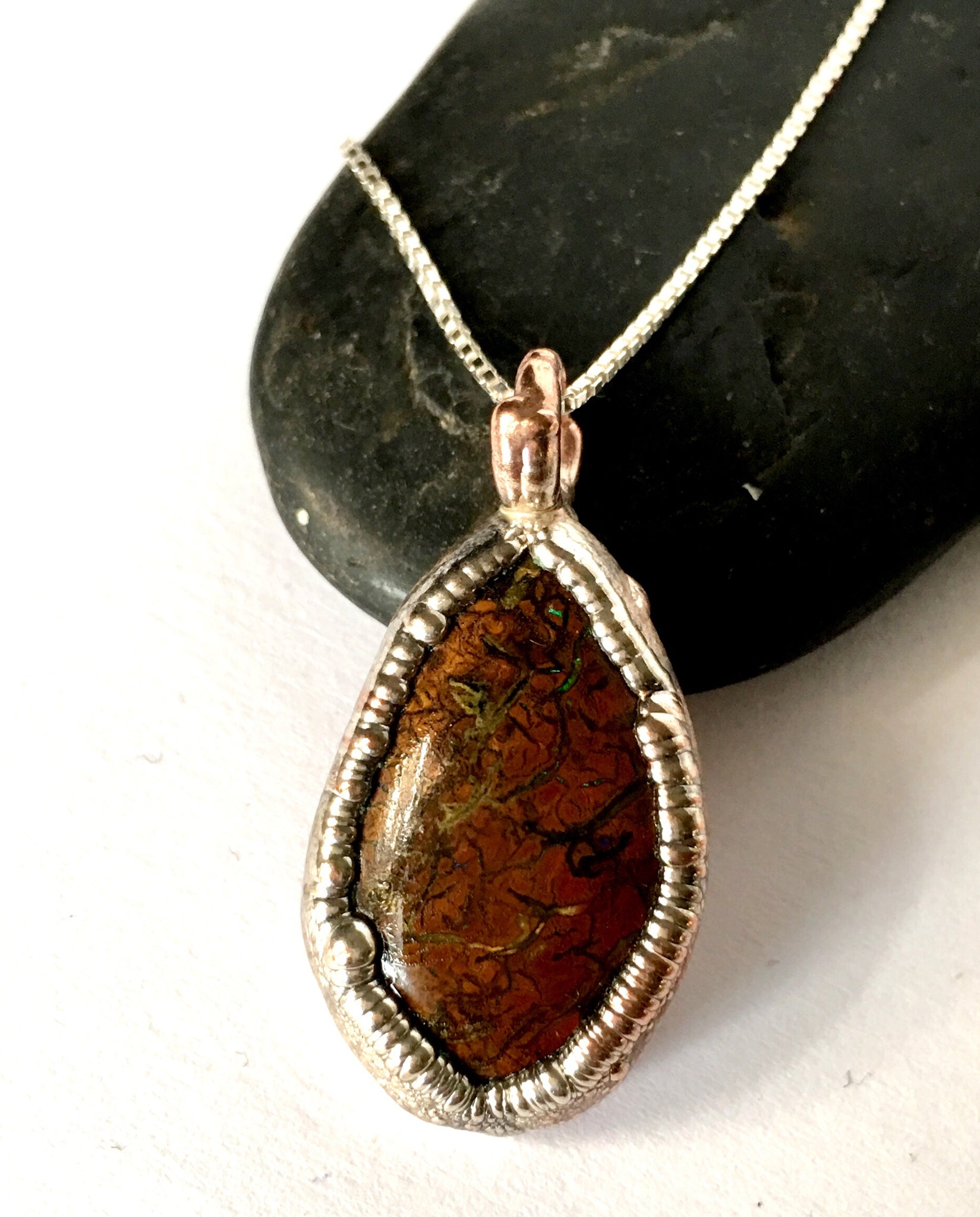Natural Boulder Opal Copper & Silver Textured Pendant Necklace - Glitter and Gem Jewellery