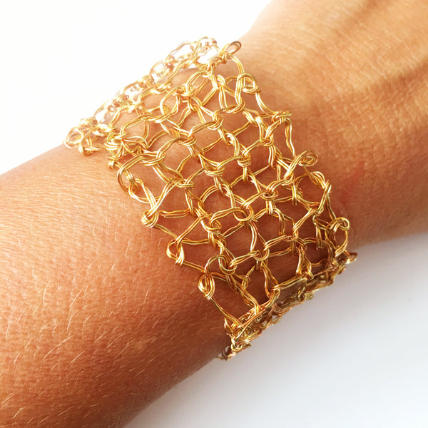 Golden toned hand woven bracelet - Glitter and Gem Jewellery