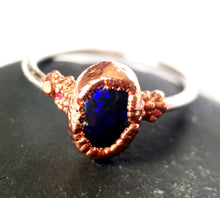 Solid Black Opal Copper & Sterling Silver Ring - Glitter and Gem Jewellery