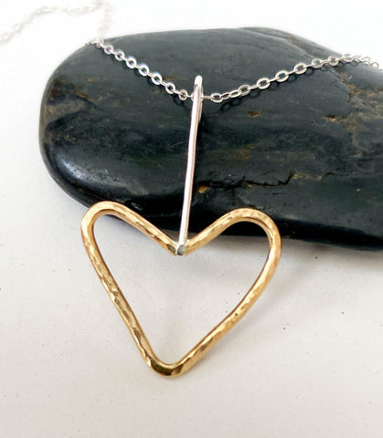14 Carat Gold Filled & Sterling Silver Heart Pendant Necklace