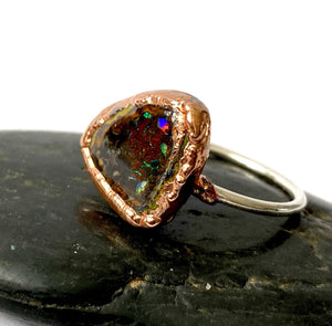 Boulder Opal Copper Formed & Silver Ring - Glitter and Gem Jewellery