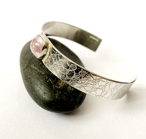 Pink Kunzite Textured Sterling Silver Cuff Bangle Bracelet - Glitter and Gem Jewellery