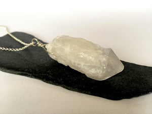 Aura Rock Crystal Quartz Sterling Silver Pendant Necklace - Glitter and Gem Jewellery