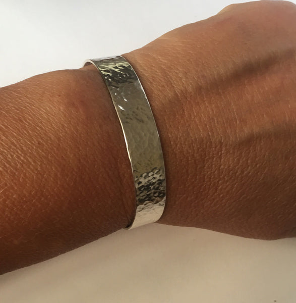 Hammered Textured Sterling Silver Cuff Bangle Bracelet - Glitter and Gem Jewellery