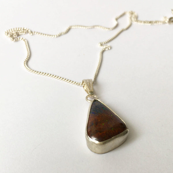 Brushed Sterling Silver Boulder Opal Pendant Necklace - Glitter and Gem Jewellery