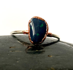 Solid Black Lightning Ridge Opal Silver & Copper Ring - Glitter and Gem Jewellery