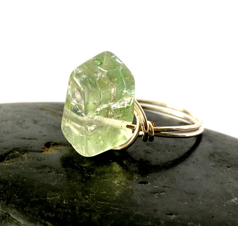 Mint Green Quartz Silver Filled Wire Ring - Glitter and Gem Jewellery