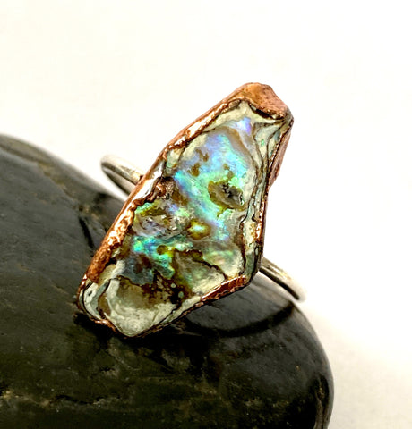 Paua Shell Copper and Silver ring,  size S 1/2, US 9 3/4 - Glitter and Gem Jewellery