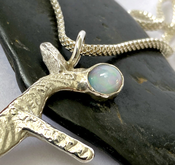 Unique Sterling Silver Pendant with 2 Solid Welo Opals - Glitter and Gem Jewellery
