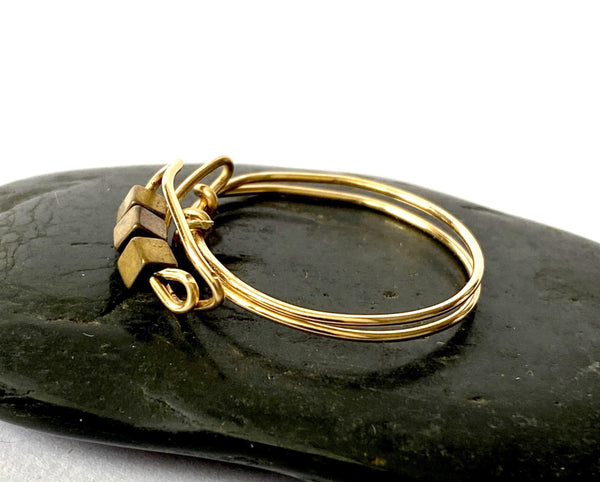 Bronze Hematite 14ct Gold Filled Wire Ring - Glitter and Gem Jewellery