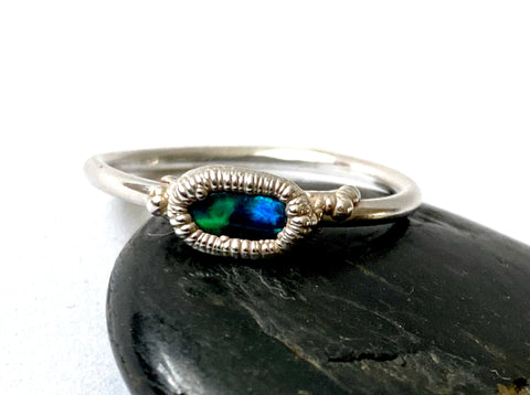 Black Opal Silver Formed Ring