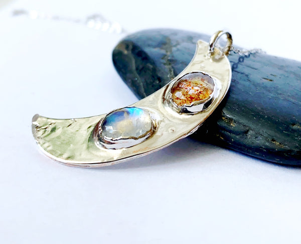 Sunstone & Moonstone Crescent Moon Silver Formed Necklace - Glitter and Gem Jewellery